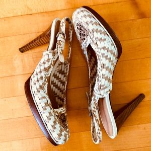 Sergio Rossi Patent Patent Leather & Rattan Heels